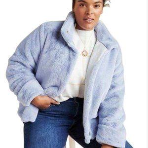 Anthropologie Moonlight Faux Fur Periwinkle Jacket